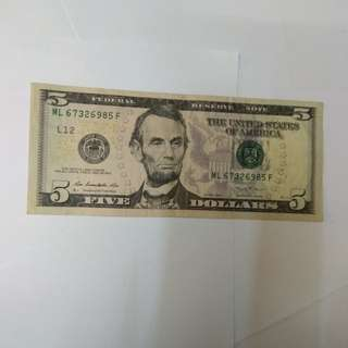 美元纸幣五元