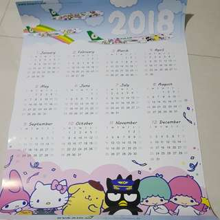 EVA Air Sanrio 2018 Wall Calendar (× 2pcs)