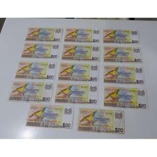 Singapore $ 20 notes - Bird Series - 14 pieces