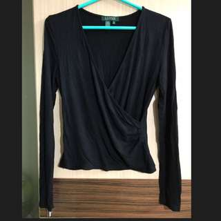 Ralph Lauren POLO 黑色 V領 彈性布料 長袖上衣