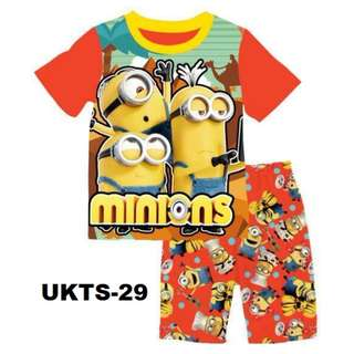 Minion Short Sleeve Tshirt/Shorts Set for (2 - 7 yrs old) Instock
