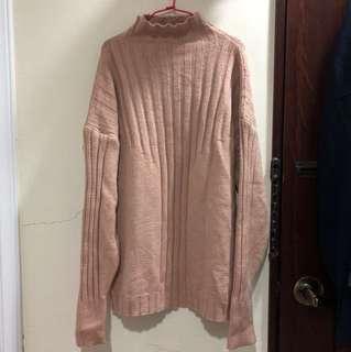 奶茶色荷葉半高領針織毛衣