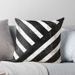 Slanted Marble Stripes Throw Pillow Cushion Cover