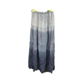 🚚 度假風漸層藍色棉麻長裙