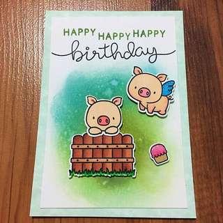Handmade birthday card (pig)