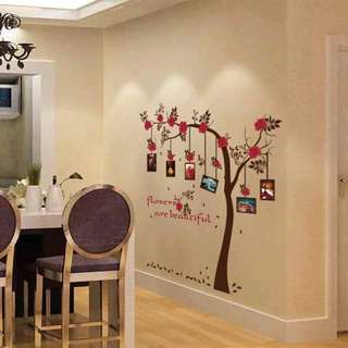 Tree Hanging Photo Frames Wall Decal Sticker
