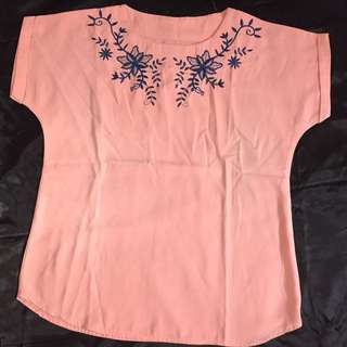 Blouse peach with bordir