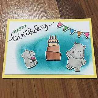 Handmade birthday card (hippo)