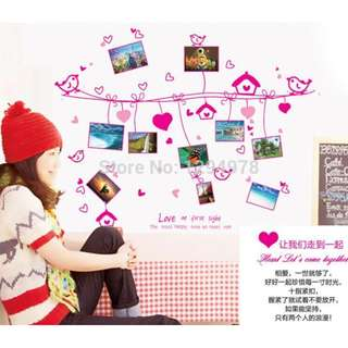 Hearts Hanging Photo Frames Wall Decal Sticker