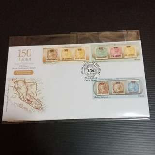150 Years Straits Settlements Stamps Provisional Issue Malaysia FDC