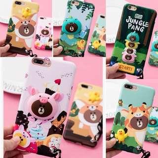 PO(187) Line Brown Bear Cupcake Fox Pig Giraffe Frog iPhone Phone Case