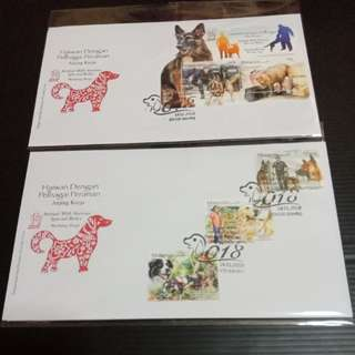 Animal With Various Special Roles Dog 2018 Malaysia FDC Sets of 2