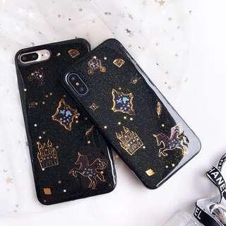 PO(188) Black Castle Unicorn Feather Carriage Diamond Glitter Black iPhone Phone Case