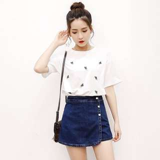 White Coloured Pattern Top With Denim Blue Coloured Overlay Trendy Skorts Set