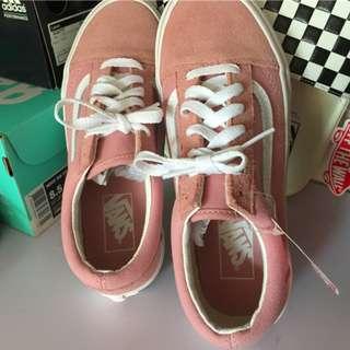 VANS範斯OS經典款櫻花粉色PINK低幫帆布翻毛皮休閑滑板鞋