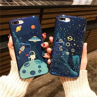 PO(189) Space Spaceman Astronaut Spaceship Star Planets Moon iPhone Phone Case