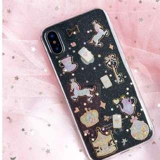 PO(192) Princess Horse Crown Card Cups Cute iPhone Transparent Phone Cover