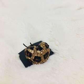 歐洲購入豹紋愛心戒指