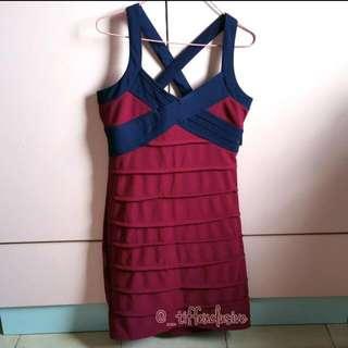 Korean Style 2 Color Body Hugging Criss Cross Dress