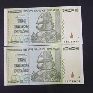 Zimbabwe ten trillion dollars 2 run