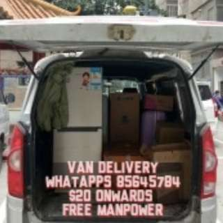 Van delivery from $20 onwards free manpower