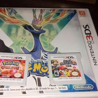 3DS games pokemom x and omega ruby / super smash bro