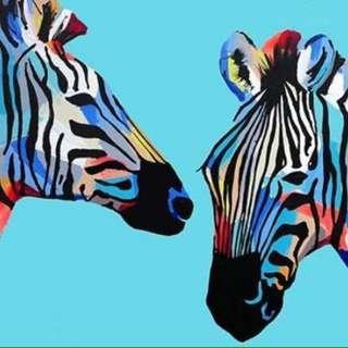 Zebra oil painting