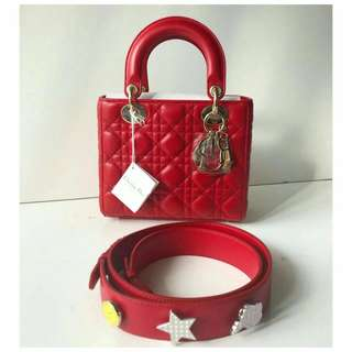 New lady dior small red ghw 2017 complete  des 2017