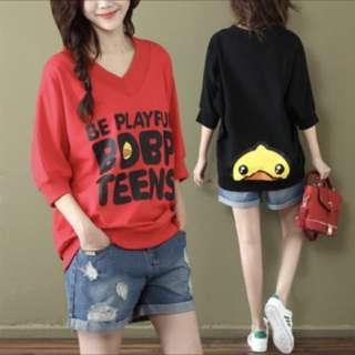 韓國秋装上衣V领七分袖T恤女宽松百搭显瘦蝙蝠衫