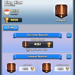 Level 11 Legendary Arena Clash Royale Account