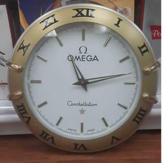 "21"" 533 mm 直徑 歐米茄 掛鐘4.35kg (Omega) Constellation Gold And Steel Silver Quartz Wall clock NOT FOR SELL 非賣品"