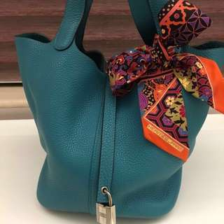 Hermes Picotin 22, Turquoise (colour), Clemence (leather), R stamp (2014), 90% new