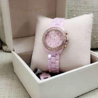 鐵達時SOLVIL et TITUS女士全陶瓷粉紅手錶06-2706