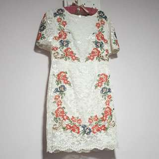 Beautiful White Lace Dress with Floral Embroidery