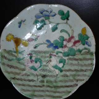 Antique 7 Inches Scallop Footed Plate