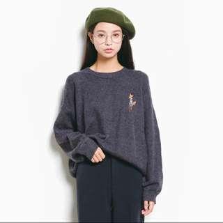小狐狸刺繡寬鬆毛衣