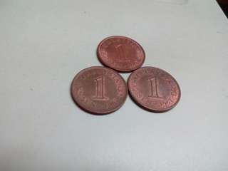 Lot of 3 Malaysia 1 sen 1967 Coin free post