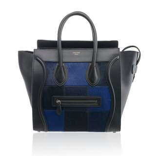 CELINE Tri Colored Chequered Pony Hair Tote