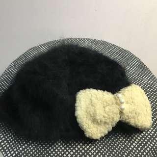 Ca4la安哥拉兔毛黑色蝴蝶結造型帽