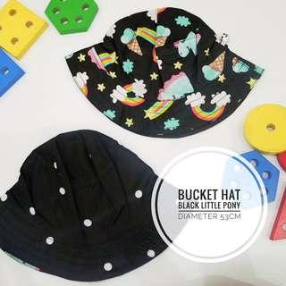 Bucket Hat Topi Anak My Little Pony Black