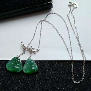 🍍18K White Gold - Grade A Icy Green Double Happiness Laughing/Wealth Buddha Jadeite Jade Necklace🍍🎍