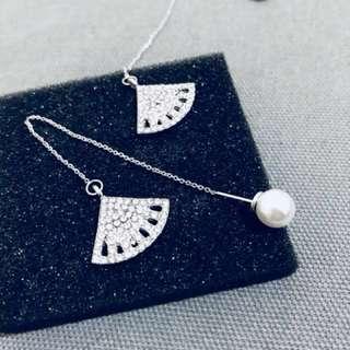 施華洛斯奇鑽扇子珍珠耳環
