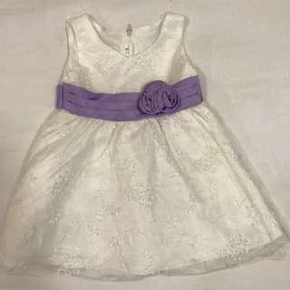 White Lace Dress with Purple Ribbon