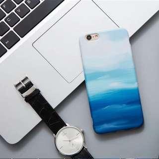 藍天水彩油畫文青款IPhone 7 plus/8plus手機殻