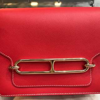 Hermes 愛馬仕 Roulis 23 蕃茄紅 Rouge Tomato 金扣 GHW Evercolor leather