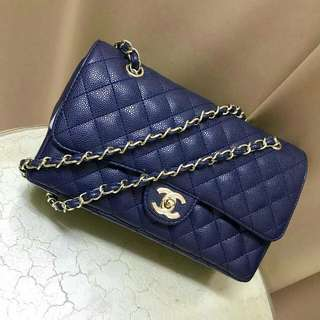 Chanel Jumbo blue caviar