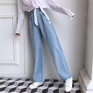 韓妞純色復古高腰牛仔直筒寬褲