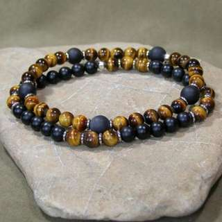 Man stones(tiger's eye & matte onyx) GENUINE bracelet set
