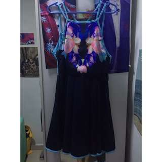 Halter Abstract Floral Printed Skater Dress