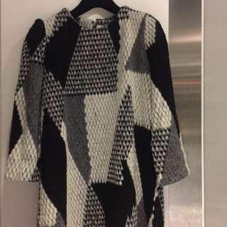 韓 毛料質感洋裝(長上衣)